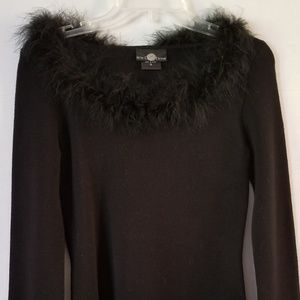 Short Black Fur/Feather Sweater